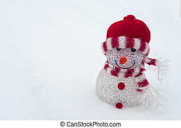 White Christmas - cheerful red snowman on the snow -...