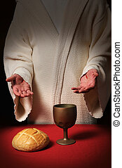Jesus at Communion Table - Jesus with scars in his hands at...
