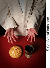 Jesus Offering Communion - Jesus hands with scars ofering...