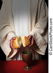Jesus Breaking Bread - Jesus breaking bread as a symbol of...