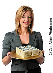 Woman With Money - Beautiful young woman with money on a...