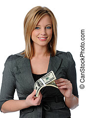 Woman Holding Money - Beautiful young woman holding a stack...
