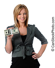Woman Holding Money - Beautiful woman holding money and...