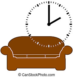 Nap time - Concept illustration showing a couch and a dial...
