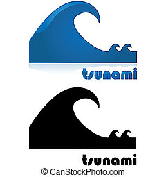 Tsunami alert - Icon showing a big wave after two smaller...