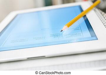 Manuali, quaderni, pila, tavoletta, digitale