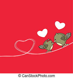 birds in love card