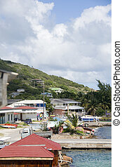town harbor dock port view  typical Caribbean house architecture Clifton Union Island St. Vincent and the Greanadines