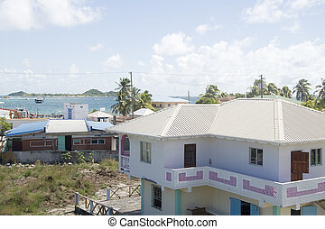 town harbor port view from typical Caribbean house architecture Clifton Union Island St. Vincent and the Greanadines