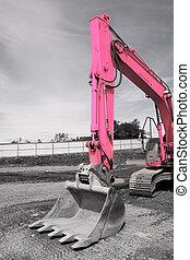 Pink Excavator Bucket - Steel excavator bucket on a pink...