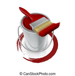 paint can and paintbrush - top view of a paint can with a...