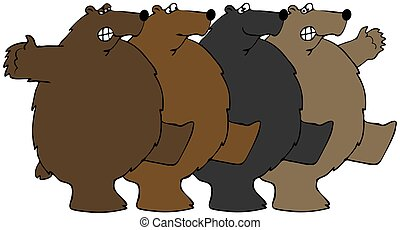 Bears dancing the Can-can - This illustration depicts four...