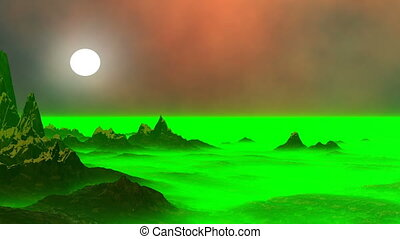 Surrealistic landscape green being - High peaks of mountains...