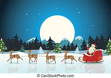 Merry Christmas Card - Illustration of a funny cartoon santa...