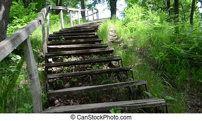 Climb up stair wooden - Climb walk upstair wooden old stairs...