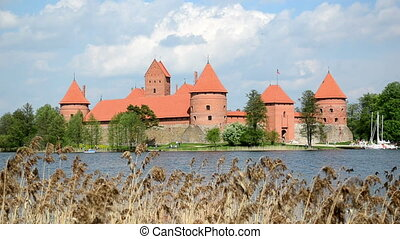 People rest Trakai castle
