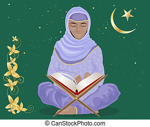 reading the koran - an illustration of a muslim woman...