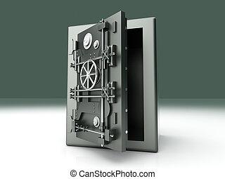 Open Vault - A open bank safe. 3D rendered Illustration.