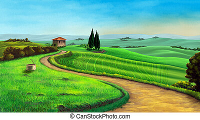 Country landscape in Tuscany, Italy, at sunset Digital...