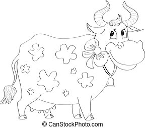cartoon cow - funny cow with a bow and bell