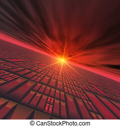 Abstract Technology Horizon - A red technology grid vortex...