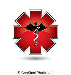 Red medical symbol isolated