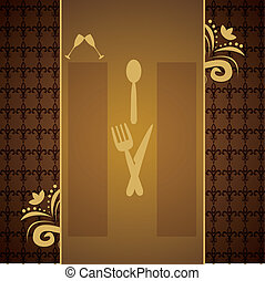 Menus and retro business cards for restaurant with brown...