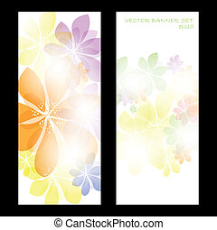 Colorful summer spring banner set with flowers
