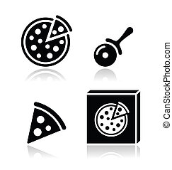 Pizza vector icons set