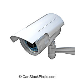 cctv on white - 3d image of classic infrared cctv