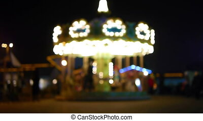 HD - Childrens carousel. defocused