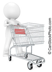 Shopping Trolley. - 3D little human character with pushing a...