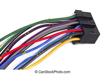 car audio system wiring cable - close up of the car audio...