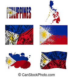 Philippine flag collage - Philippines flag and map in...