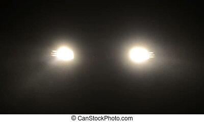 Fog in a headlights of car