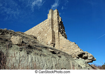 Castlewood Canyon Dam ruins. The dam was erected in 1890,...