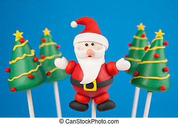 Christmas cake pop - Santa Claus and Christmas trees cake...
