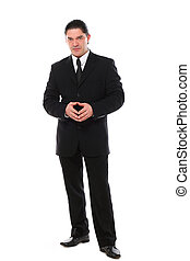 Confident mid aged man in suit posing in studio over a white...