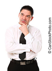 Serious mid aged businessman thinking - Mid aged businessman...