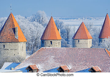 Old Towers - Panoramic view on old towers of Tallinn Central...