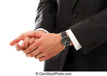 Businessman hands counting using fingers - Closeup of...