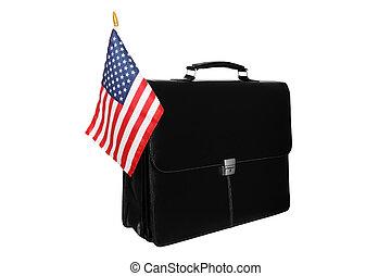 Portfolio with a flag of the USA