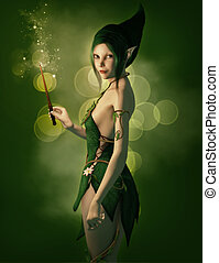 Sassy - a little elf with magic wand and a pointed cap