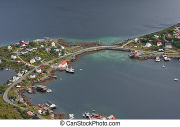 Reine - birds eye view of fishing village Reine, Lofoten,...