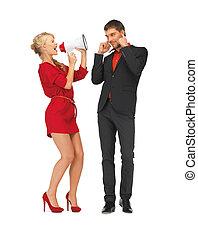beautiful couple with megaphone
