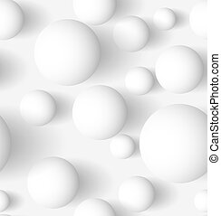 Seamless abstract 3D white spheric background Vector...