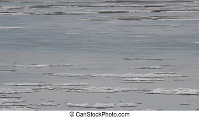 Ice drift. Russia, spring, a large river