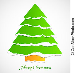 Torn paper green christmas tree