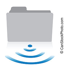 one computer folder icon with a wireless symbol