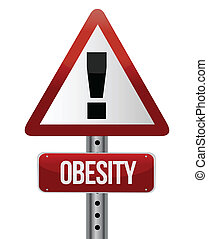 road traffic sign with an obesity concept illustration...
